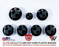 Black & Dark Grey Gloss Badge Emblem Overlay FOR BMW Sticker Vinyl 2 Quadrants covered in each colour FITS YOUR BMW'S Hood Trunk Rims Steering Wheel