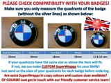 FULL RED FLUORESCENT Badge Emblem Overlay FOR BMW Sticker VINYL 4 QUADRANTS COVERED FITS YOUR BMW'S HOOD TRUNK RIMS STEERING WHEEL