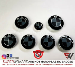 Black & Dark Grey MATTE Badge Emblem Overlay FOR BMW Sticker Vinyl 2 Quadrants covered in each colour FITS YOUR BMW'S Hood Trunk Rims Steering Wheel
