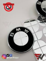 CHROME SILVER MIRROR Badge Emblem Overlay FOR BMW Sticker VINYL 4 QUADRANTS COVERED FITS YOUR BMW'S HOOD TRUNK RIMS STEERING WHEEL