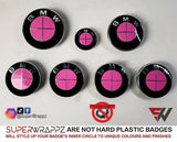 PINK GLOSS Badge Emblem Overlay FOR BMW Sticker VINYL 4 QUADRANTS COVERED FITS YOUR BMW'S HOOD TRUNK RIMS STEERING WHEEL