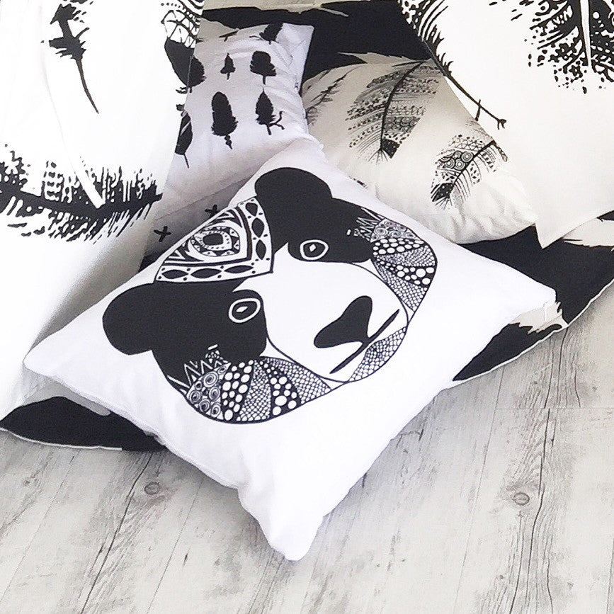 Happy Panda vs. Feather Sketch Cushion