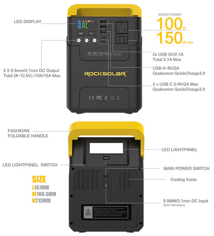 ROCKSOLAR RS328 100W portable power station outlet information