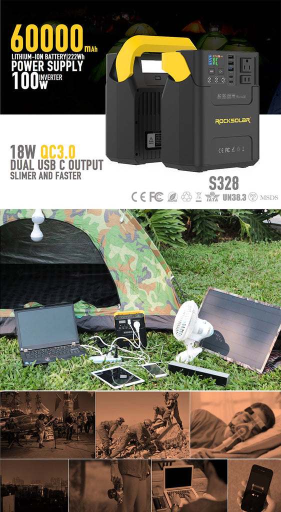ROCKSOLAR portable S328 power station application and usage