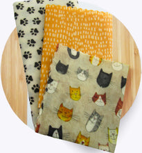 Load image into Gallery viewer, Beeswax Wrap - Cat Talk set/3