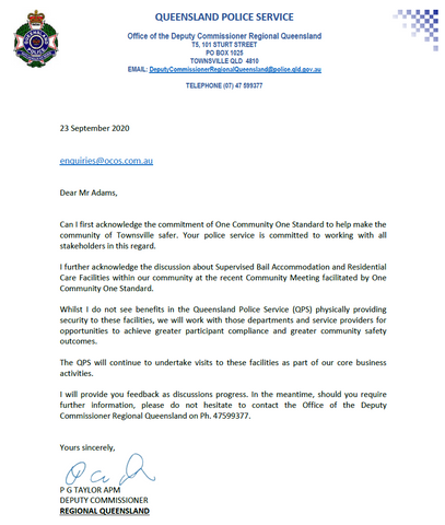 Paul Taylor's Response to Request for Increased Police Supervision of Bail Houses