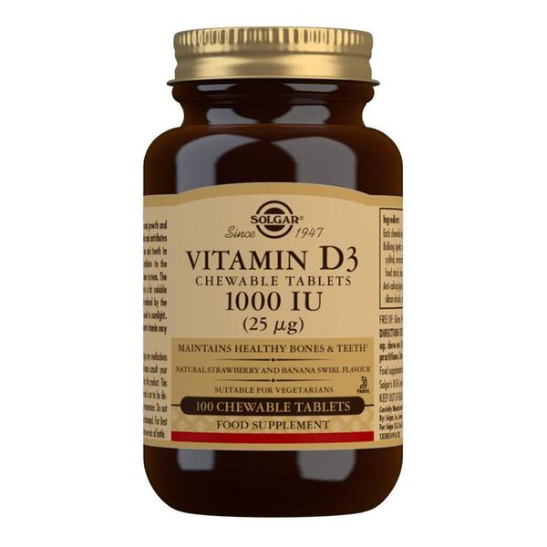 Solgar Vitamin D3 1000 IU (25 mcg) Chewable Tablets - Pack of 100