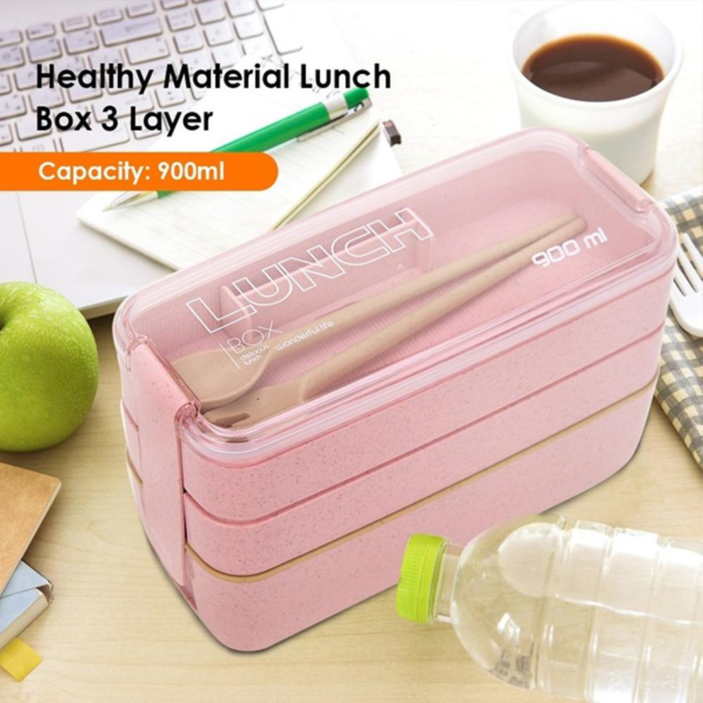 Mysticzone 900ml 3 Layers Bento Box - Eco-Friendly Wheat Straw Material Microwavable