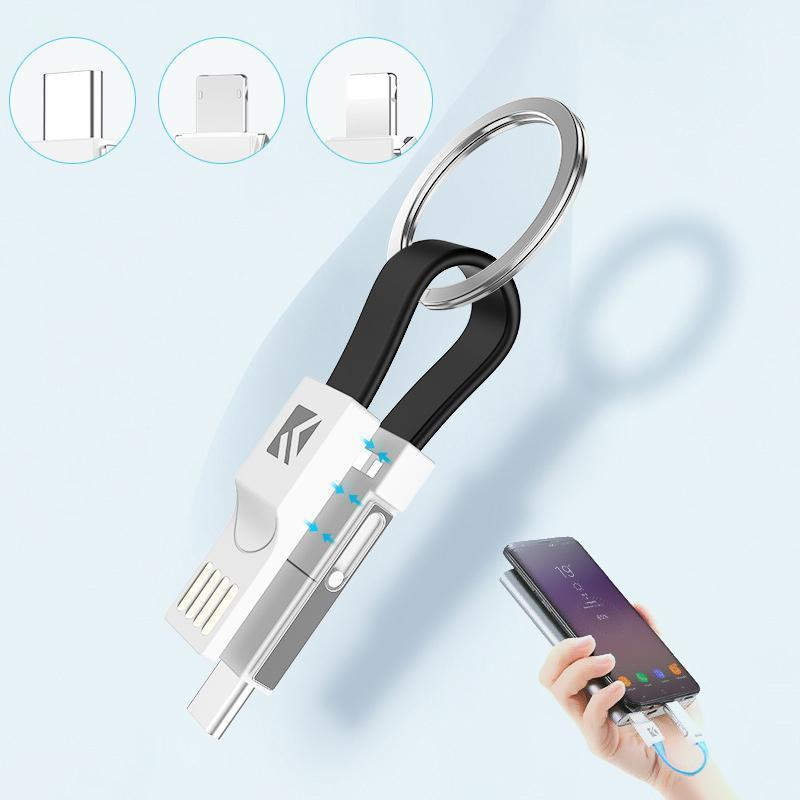 Mysticzone 3-in-1 Keychain Data Sync Charge Cable