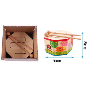 Mysticzone Kids Early Learning Instrument Wooden Drum Musical Toy Play Fun