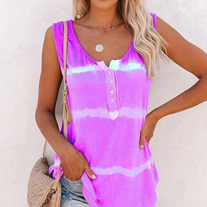 Mysticzone Casual Tie-dye Button Tank Top
