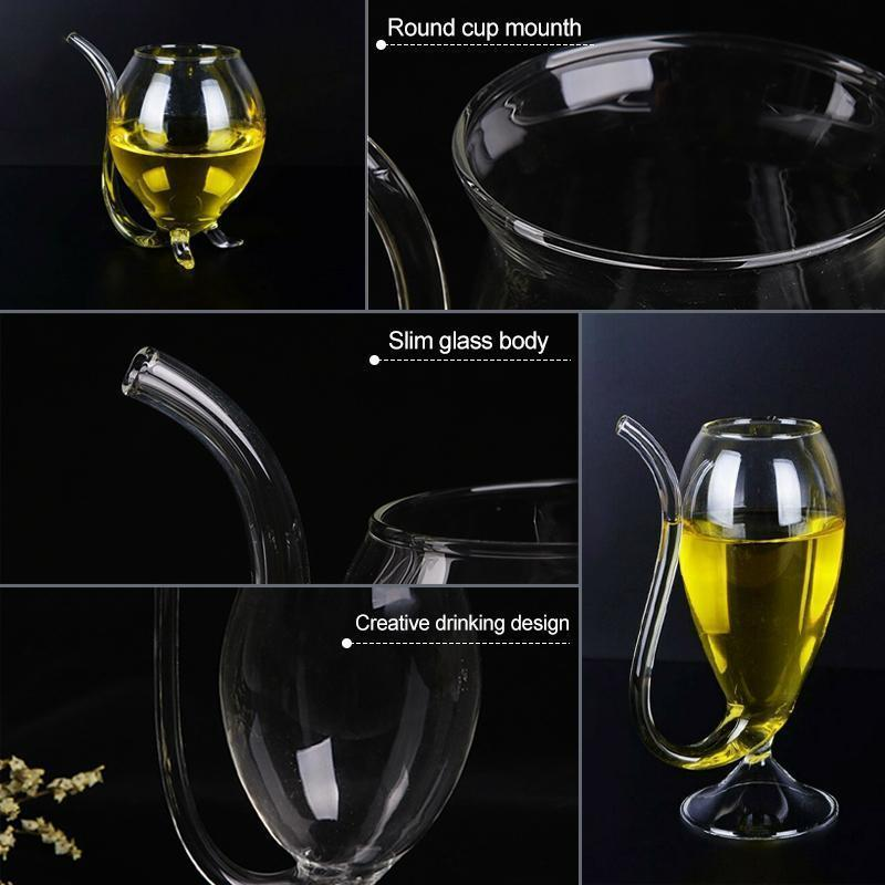 Mysticzone Creative Glass Cup With Drinking Tube Straw