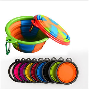 Mysticzone Pet Bowl Silicone Folding Bowl Outdoor Portable Plastic
