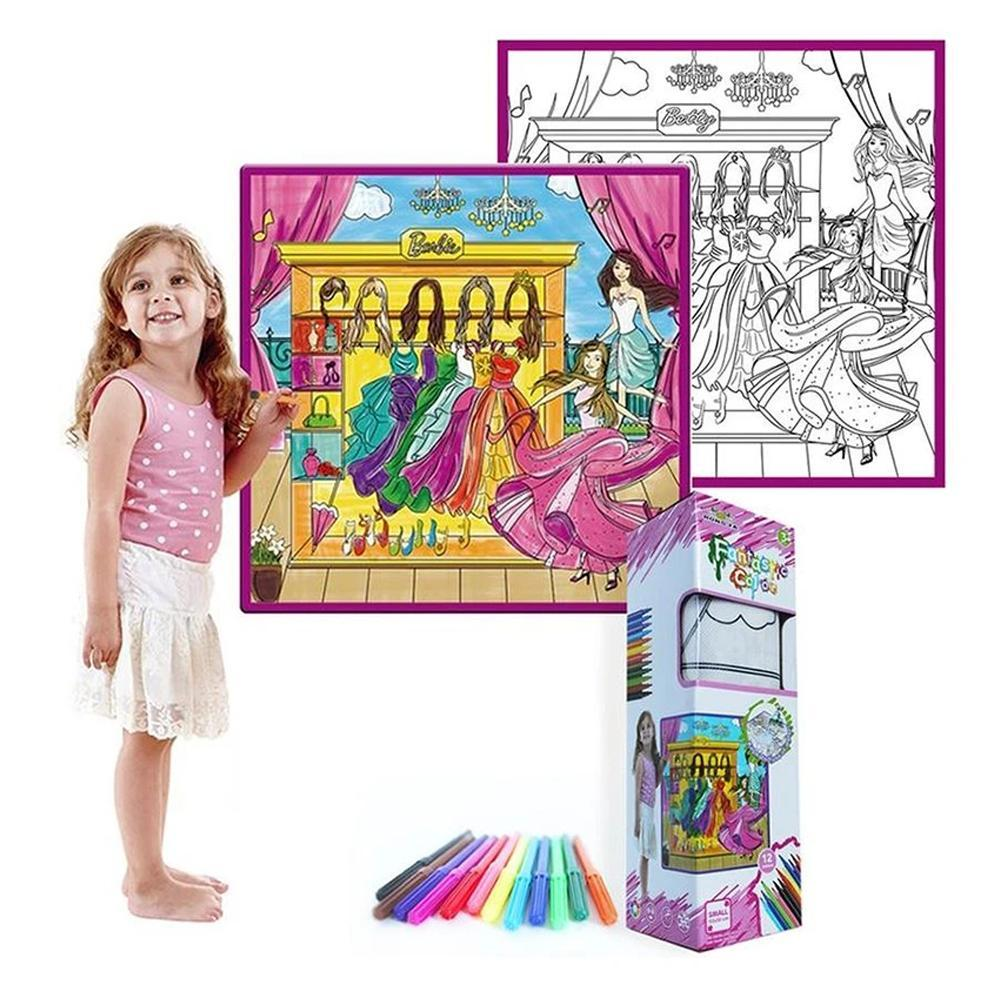 Mysticzone Kids' Washable Coloring Play Mat with 12 Washable Markers