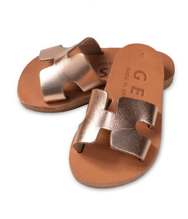 Greek Leather Sandals - Slip On