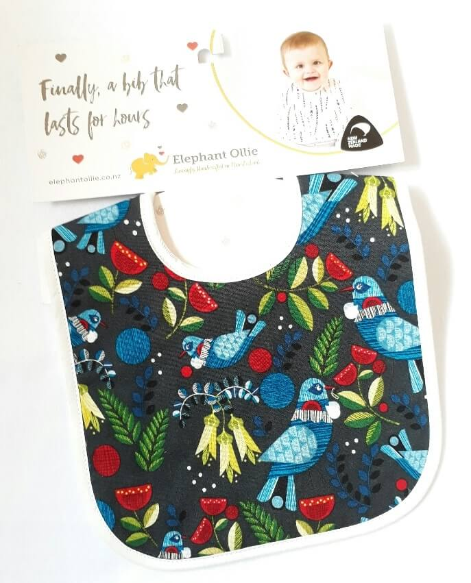 NZ designed, kiwiana, handcrafted, absorbent, 3-Layered Bib. Made in New Zealand.