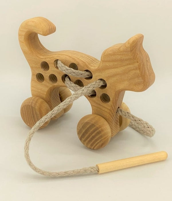 Lacing Wooden Wheeled Cat