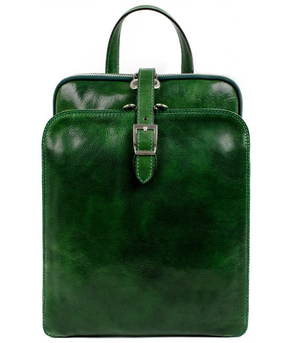 Leather Backpack - Green Convertible