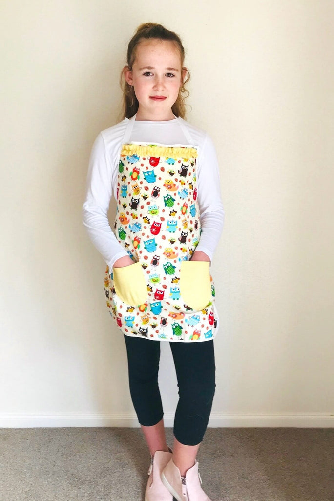 Elephant Ollie Girl's Kitchen Apron. Lovingly handcrafted in New Zealand.