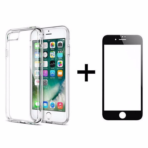 Θηκη Remax Crystal + Tempered Glass Full Cover iPhone 7 - Μαυρο - IPH7-P21BK,  , Θήκη, Remax - i-Think - 1
