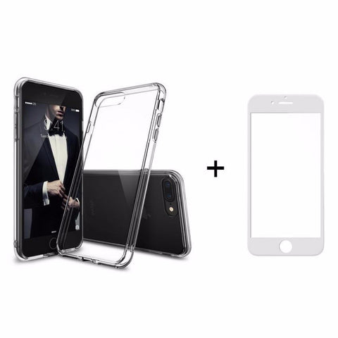 Θηκη Remax Crystal + Tempered Glass Full Cover iPhone 7 - Λευκο - IPH7-P21W,  , Θήκη, Remax - i-Think - 1