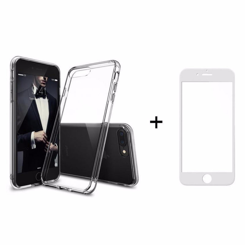 Θηκη Remax Crystal + Tempered Glass Full Cover iPhone 7 Plus / 8 Plus - Λευκο - iThinksmart.gr