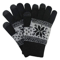 Touch Screen Gloves Winter Pattern - Black - iThinksmart.gr