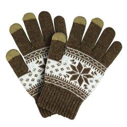 Touch Screen Gloves Winter Pattern - Brown - iThinksmart.gr
