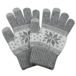 Touch Screen Gloves Winter Pattern - Grey - iThinksmart.gr