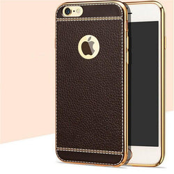 "Θηκη TPU ""Leather Plating"" Σκούρο Καφέ - iPhone 7 Plus / 8 Plus - iThinksmart.gr"