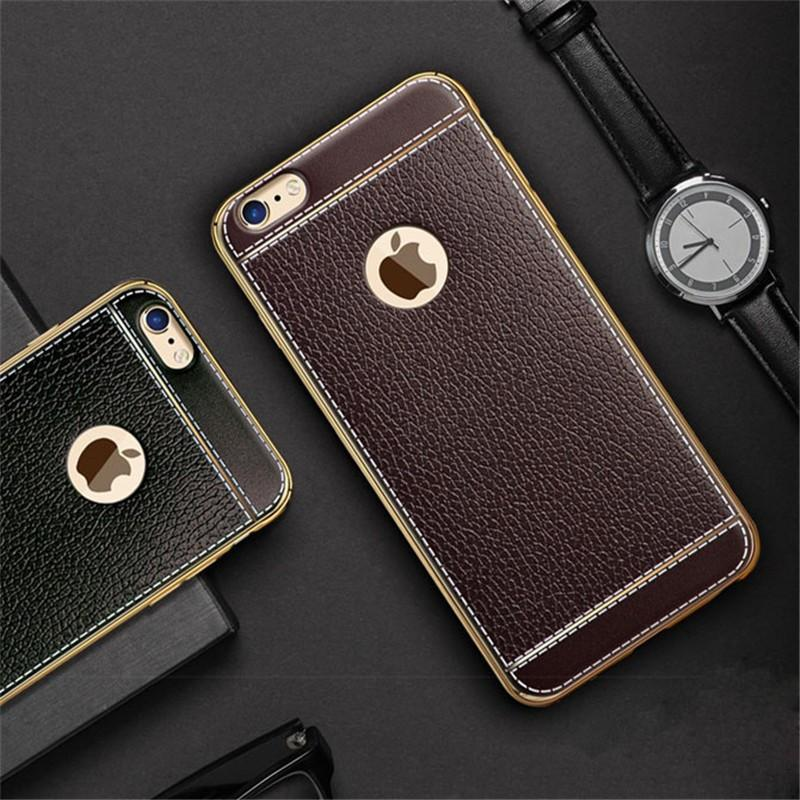 "Θηκη TPU ""Leather Plating"" Μαυρο - iPhone 7 / iPhone 8 - iThinksmart.gr"