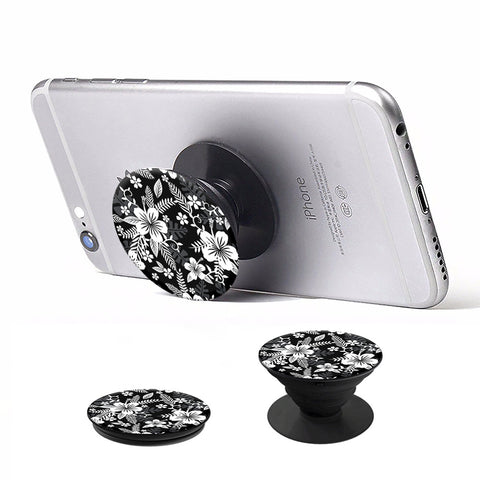 Pop Holder Phone Stand - Black Flowers
