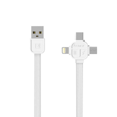 Καλωδιο Remax - Micro USB, Lightning Type C 1m RC-066TH - Λευκο - iThinkSmart.gr