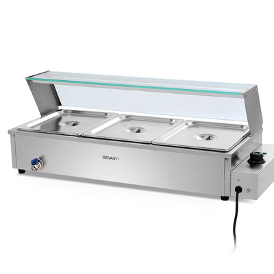 Devanti Commercial Food Warmer Bain Marie Electric Buffet Pan Stainless Steel - Devanti