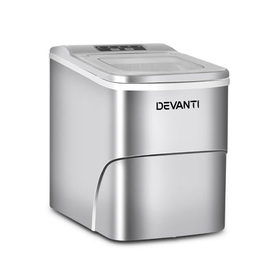 Devanti Portable Ice Cube Maker - Silver - Devanti
