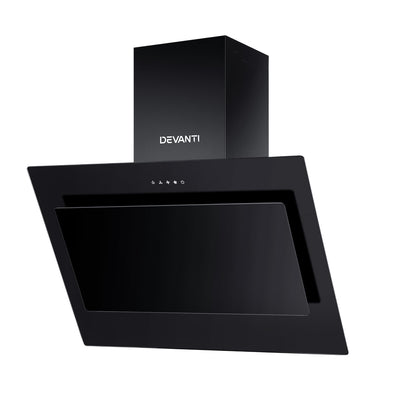 DEVANTI Rangehood 900mm Black Angled Side Draft Range Hood Canopy Glass 90cm - Devanti