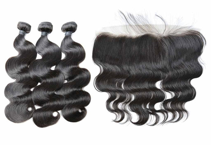 Brazilian Body Wave 3 Bundles + Lace Frontal