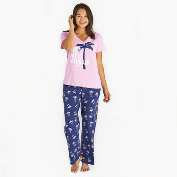 Women's Snuggle Up Sleep Pant Palm Trees