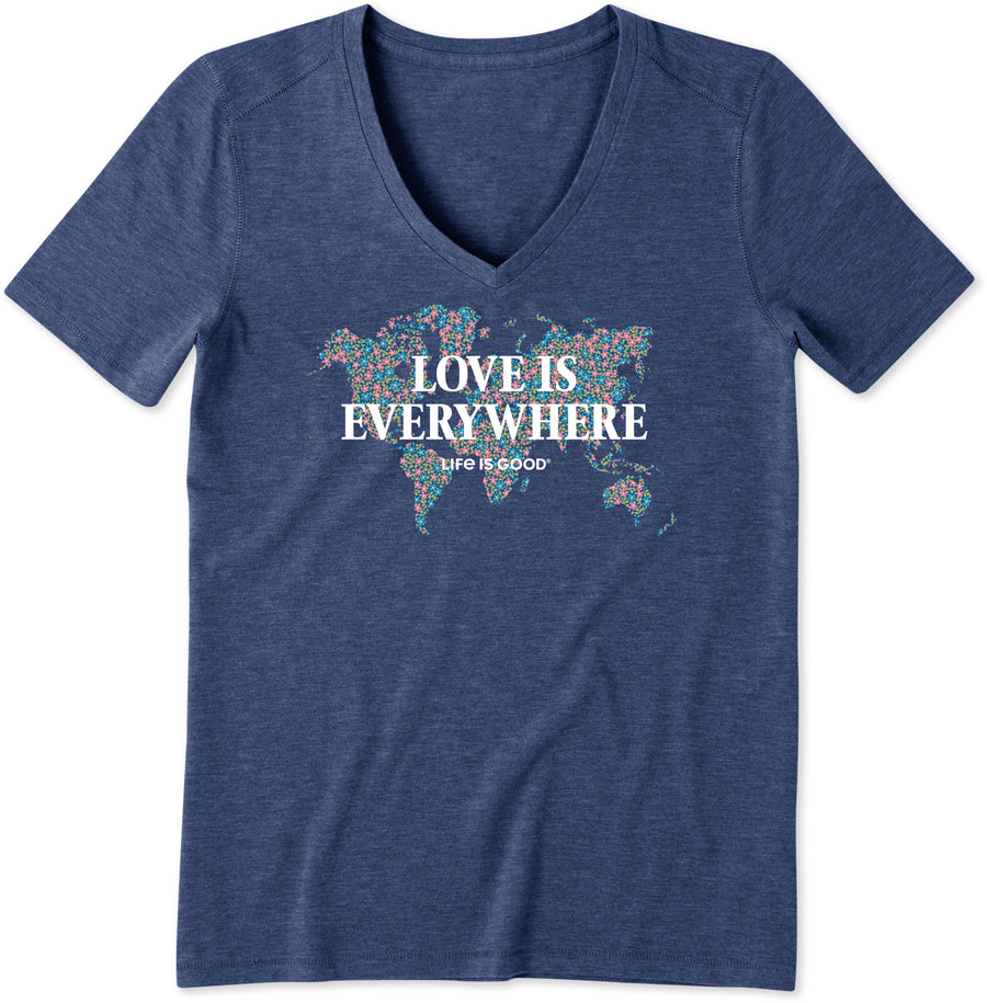 Women's Cool Vee Love is Everywhere Daisies