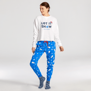 Women's Snuggle Up Sleep Jogger, Snowman Snowflake