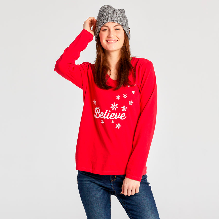 Women's Crusher L/S Vee, Believe