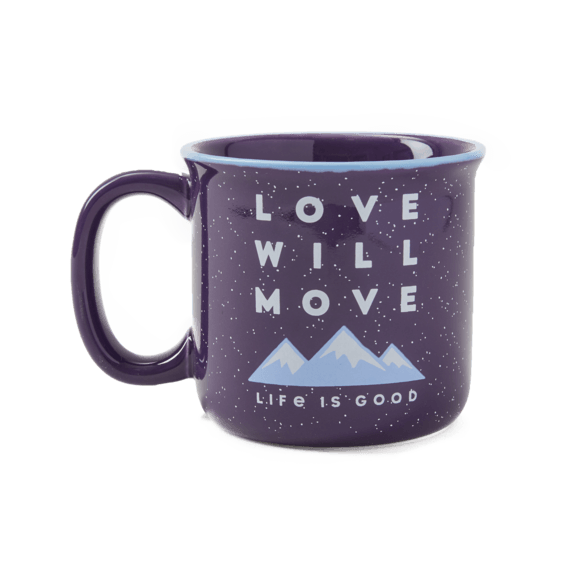 Happy Camper Mug, Love Will Move Mountains