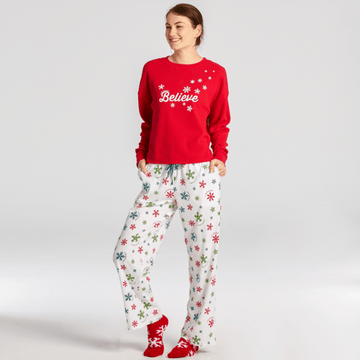 Women's Snuggle Up Sleep Jogger, Believe