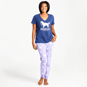 Women's Snuggle Up Sleep Jogger Dog Print