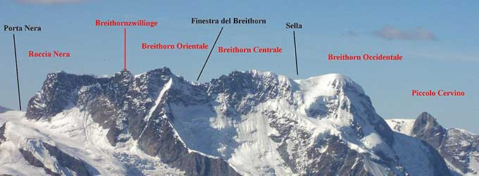 the summits of the Breithorn