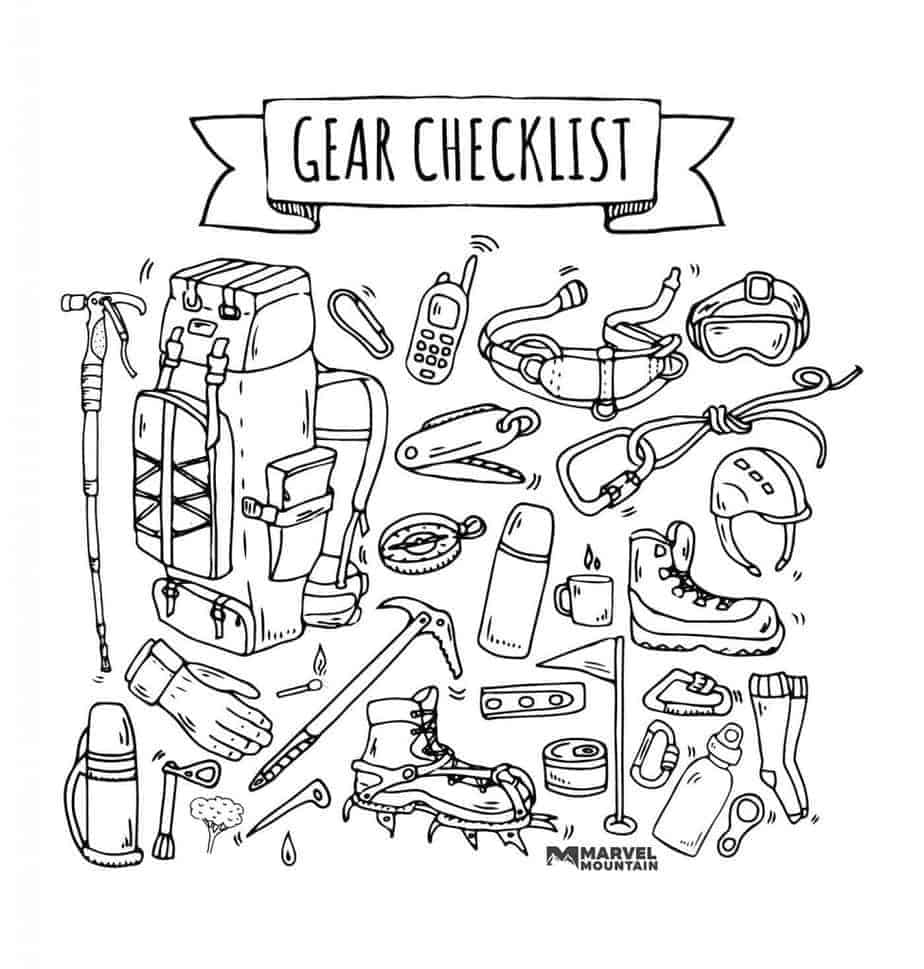 Hiking Packing List gear drawing line art