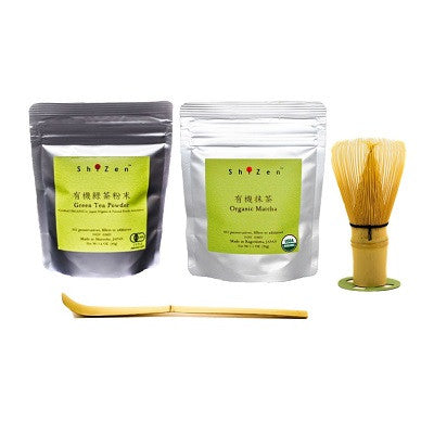 Organic matcha and sencha green tea powder