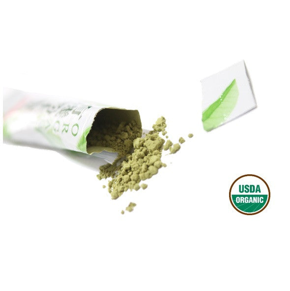 Organic green tea powder packet from Japan
