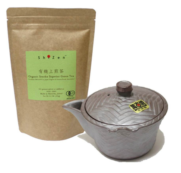 Organic Green Tea and Tea Pot Kyusu Banko yaki