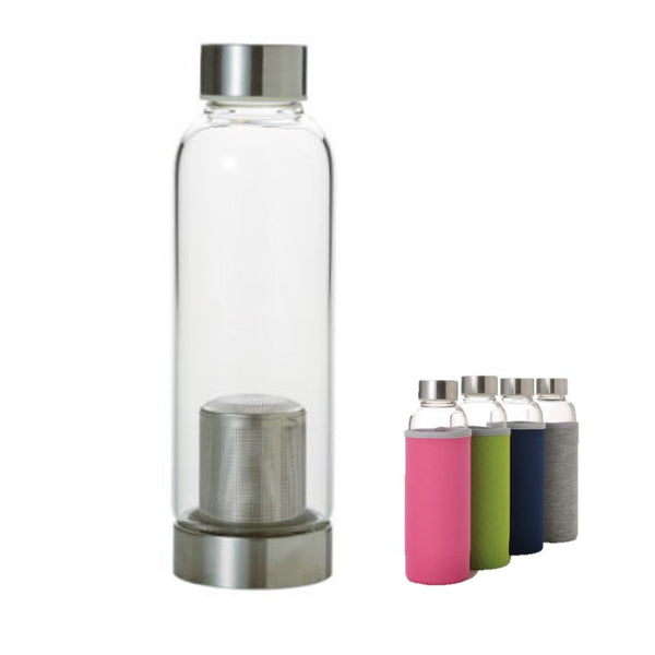 Glass Water Bottle with Tea Infuser -12.85oz/380ml- Borosilicate glass